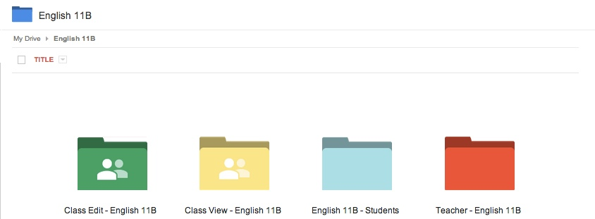 gClass Folders set up for my English 11B class