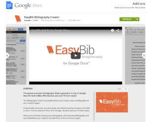 The EasyBib add-on for Google docs makes adding a bib page simple. Info at http://www.easybib.com.